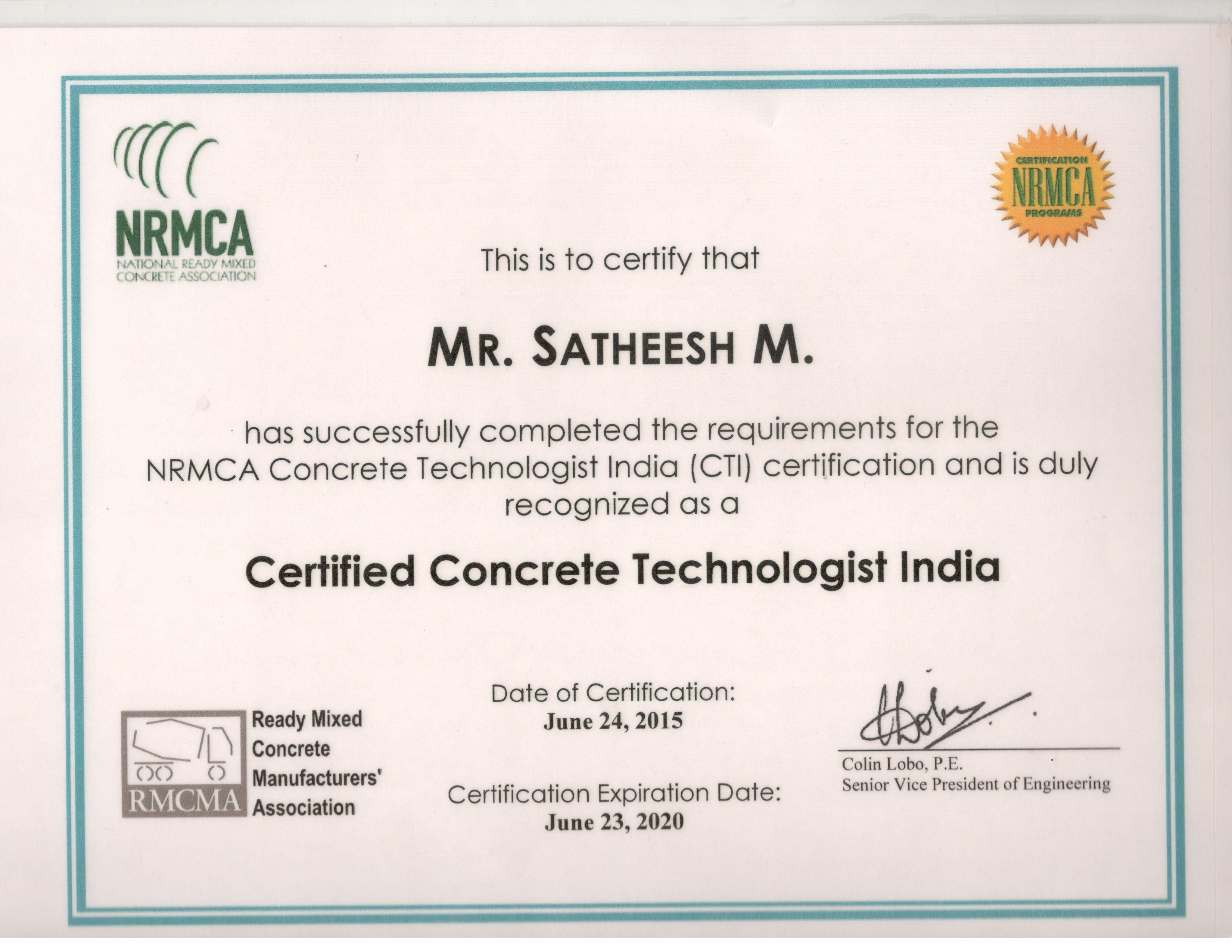 Amaze concrete products private limited for the fourth batch of concrete technologist india cti training and certification program conducted during jun 20 24 2015 at lts leadership 1betcityfo Gallery